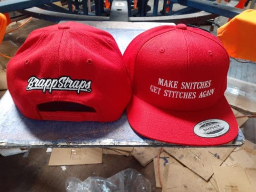 Make Snitches Get Stitches Again Snapback Hat by Brapp Straps